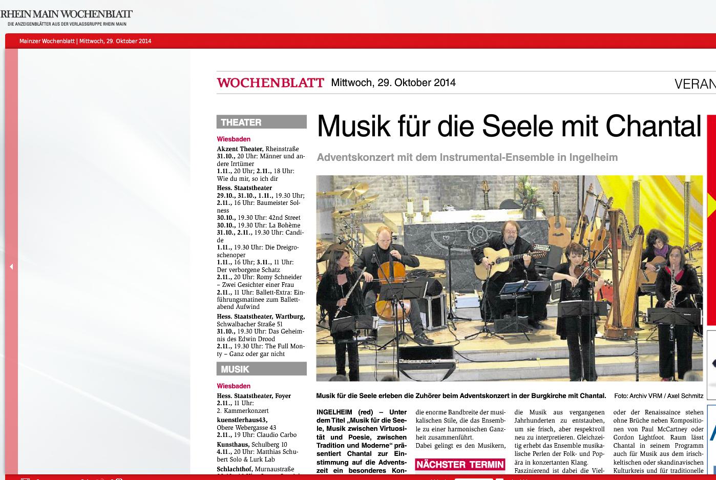 Wochenblatt: Konzerthinweis